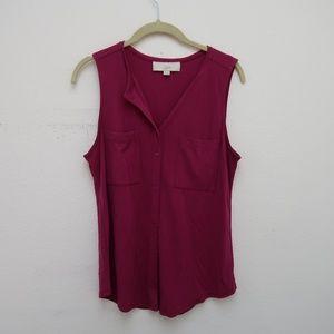 LOFT Women's Button Front Sleeveless Pink Top